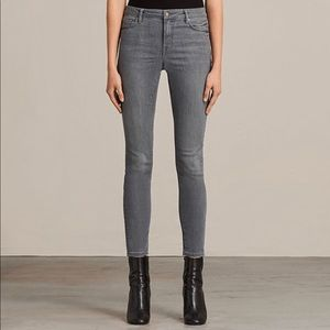 All Saints Gray Low Rise Skinny Jeans